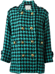 Moschino Vintage Houndstooth Coat Green