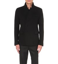 Wooyoungmi Stand Collar Wool And Cashmere Blend Jacket Black