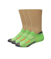 Feetures Elite Ultra Light No Show Tab 3 Pair Pack Citron Electric Orange No Show Socks Shoes Green