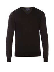 Lanvin V Neck Long Sleeved Wool Sweater Black