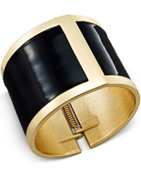 Bar Iii Gold Tone Black Hinge Bracelet