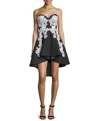 Jovani Strapless Sweetheart Lace Embroidered High Low Dress Black White