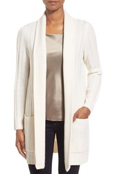 Women's Nordstrom Collection Ribbed Wool And Cashmere Cardigan Ivory Soft