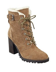 Ivanka Trump Gentry Suede And Faux Fur Ankle Boots Brown