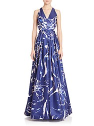David Meister Printed Ball Gown Blue Pink