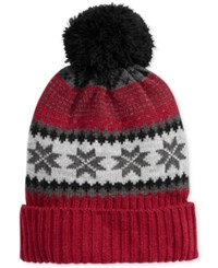 Club Room Men's Fair Isle Pom Pom Beanie Only At Macy's Red