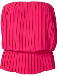 Nicole Miller Pleated Strapless Top Pink And Purple