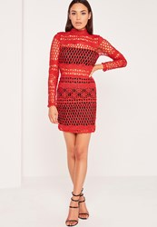 Missguided Lace Overlay Long Sleeve Bodycon Dress Red Red