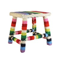 Anne Claire Large Mix Stripe Square Crochet Stool