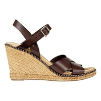 Jigsaw Sia Wedge Heeled Espadrille Sandals Chocolate Leather