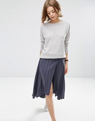 Asos Midi Skirt In Self Stripe With Stepped Hem Detail Charcoal Grey
