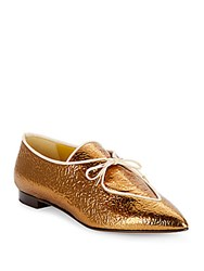 Charlotte Olympia Winky Embossed Metallic Leather Oxfords Antique Gold