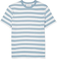 Officine Generale Slim Fit Striped Knitted Cotton T Shirt Blue