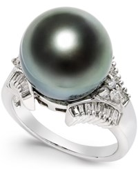 Macy's Cultured Tahitian Black Pearl 13Mm And Diamond 3 5 Ct. T.W. Ring In 14K White Gold