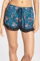 Women's Band Of Gypsies Floral Print Shorts Teal Red