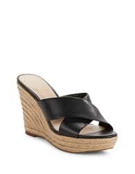 424 Fifth Sadie Leather Crisscross Espadrille Wedge Sandals Black