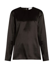 Raey Crew Neck Silk Satin Blouse Black