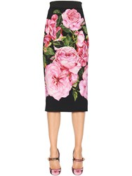 Dolce And Gabbana Roses Printed Stretch Cady Pencil Skirt