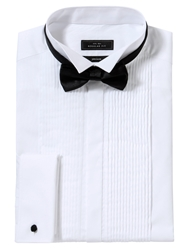 John Lewis Pleated Front Wing Collar Double Cuff Dress Shirt White