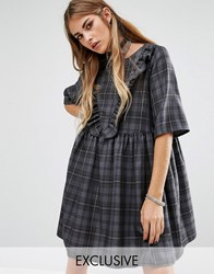 Reclaimed Vintage Oversized Smock Dress With Ruffle Front Grey