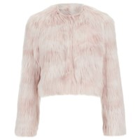 Red Valentino Redvalentino Women's Cropped Faux Fur Jacket Nudo Pink