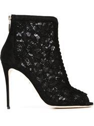 Dolce And Gabbana Floral Lace Ankle Booties Black