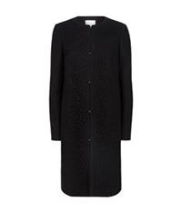 Hugo Boss Collarless Lace Insert Coat Black