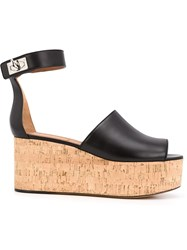 Givenchy 'Shark Lock' Wedge Sandals Black