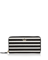 Kate Spade New York Lacey Striped Wallet Black And White Gold