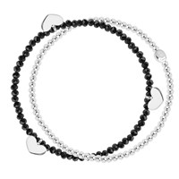 Joma Double String Heart Stretch Bracelet Black Silver