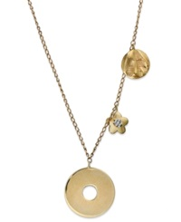 Macy's 14K Gold Necklace Diamond Accent Disc And Charm Pendant