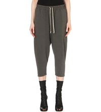 Rick Owens Cropped Cotton Jersey Trousers Dust