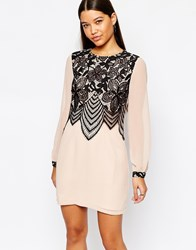 Lipsy Swing Dress With Lace Front Detail Pink