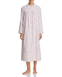 Eileen West Flannel Long Sleeve Ballet Gown White Pink Rosebud