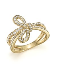 Bloomingdale's Diamond Bow Ring In 14K Yellow Gold .45 Ct. T.W. White Gold