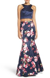 Xscape Evenings Women's Floral Satin Two Piece Ballgown Navy Pink