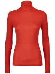 Jaeger Ribbed Jersey Roll Neck Top Red