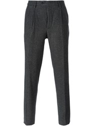 Massimo Piombo Zig Zag Pattern Tailored Trousers Grey