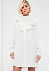 Missguided White High Neck Ruffle Front Long Sleeve Shift Dress
