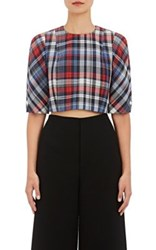 Thom Browne Women's Plaid Wool Silk Crop Blouse Size 4 Us No Color
