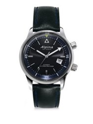 Alpina Sapphire Crystal Leather Strap Watch Grey