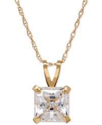 Macy's Square Cut Cubic Zirconia Pendant Necklace In 14K Gold Or White Gold