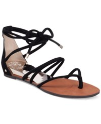 Vince Camuto Adalson Strappy Lace Up Flat Sandals Women's Shoes Black