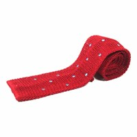Nick Bronson Knitted Silk Spot Tie Red Blue
