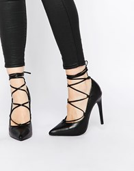 New Look Ghillie Pointed High Heeled Shoe Black