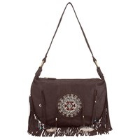 East Fringed Beaded Leather Bag Brown