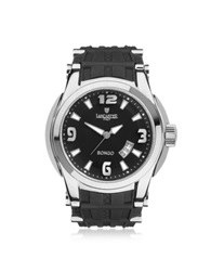 Lancaster Bongo Tempo Men's Silver Stainless Steel Watch W Black Rubber Strap
