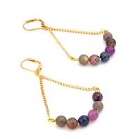 Salome Rebel Collection Ruby And Sapphire Earrings Red Blue Gold