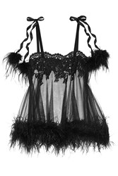 Agent Provocateur Karlotta Feather Trimmed Leavers Lace And Tulle Chemise