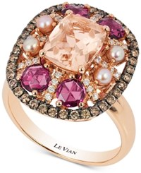 Le Vian Chocolatier Multi Gemstone 2 1 2 Ct. T.W. Pearl 2 1 2Mm And Diamond 2 5 Ct. T.W. Ring In 14K Rose Gold